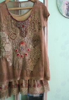 Romantic layered set of floaty tunic with tank top in shades of cinnamon, pale brown, cocoa, cream and off white. Hand dyed and hand embroidered