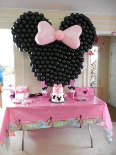 Painel de balões Minnie Rosa