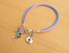 Pink and Blue Awareness Bracelet (Rubber) - SIDS, Birth Defects, CDH, FAS, Infant Loss, Clubfoot, Cleft Palate