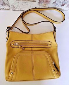 080aa1486ae Tignanello Organizer Shoulder bag Yellow Pebble Leather Medium  Tignanello   ShoulderBag Bag Organization, Leather