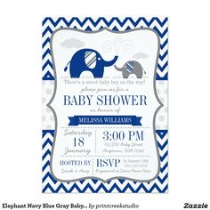 Elephant Navy Blue Gray Baby Shower 5x7 Paper Invitation Card