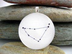 Capricorn Zodiac Pendant  Black and white  by SolasJewelry on Etsy, $9.95