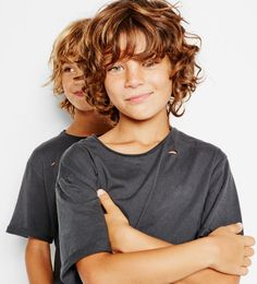 Ripped T-shirt - Available in more colours - Boys haircuts - Boys Curly Haircuts Kids, Cool Hairstyles For Boys, Boy Haircuts Long, Toddler Boy Haircuts, Little Boy Haircuts, Boys With Curly Hair, Curly Hair Cuts, Toddler Hair, Long Curly Hair
