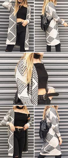 Warm it Up Rhombus Knitting Long Sweater