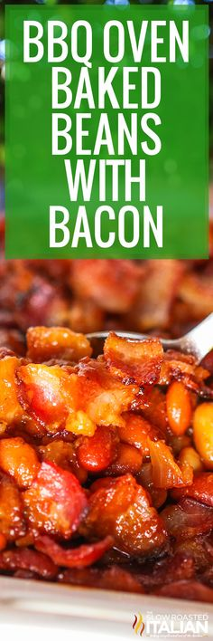 Oven baked beans are made with brown sugar, molasses, and pork for a delicious, smoky flavor. Make this recipe as a quick and easy side dish. #BBQOvenBakedBeans #Bacon #BakedBeans #SideDish Recipes Using Bacon, Baked Bean Recipes, Honey Recipes, Fun Easy Recipes, Side Dish Recipes, Vegetable Recipes, Easy Meals, Dinner Recipes, Beans Recipes