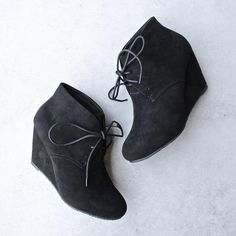 black suede ankle booties - shophearts - 1