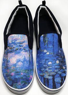 Claude Monet Water Lilies Slip-on Vans Brand Shoes Mens Canvas Shoes, Canvas Slip On Shoes, Painted Vans, Hand Painted Shoes, Custom Vans, Custom Shoes, Custom Sneakers, Vanz, Painted Clothes