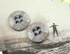 Cross Ribbon Metal Buttons  Pastel Blue Color  4 Holes by Lyanwood, $5.00