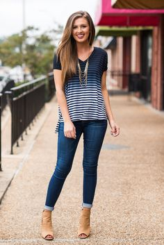 """""""Fading In Stripes Top, Navy""""This ombre top is just what you need to beat the heat this summer!"""