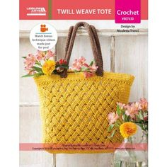 A beautiful lattice pattern dresses up the Twill Weave Tote to crochet by Italian designer Nicoletta Tronci of NTmaglia Crochet Design. Finished size is 18 x 13 inches (45.5 x 33 cm), excluding handles. <br><br> Supplies needed are medium weight yarn, a size 7 (4.5 mm) crochet hook, and miscellaneous additional supplies. The photo model was made using Garnstudio Drops Paris 100 percent cotton yarn in #41 Mustard and #44 Brown. <br><br> Instructions are for Intermediate...