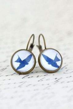 Brass Leverback Earrings Bird Earrings Glass
