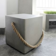 Concrete Cube With Rope & Wheels  - A braided rope made from natural materials combined with soft lines and the simplicity of concrete. 15.75 x 15.75 x 17.75 H H inches, Free Delivery!