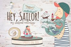 """""""Hey, Sailor"""" By CallMeStasya - it's a collection of cute scandinavian ilustration, includes sailor with beard-sea, storm in the suitcase and storm in coffee cup, cutest seagull and fisherman in a tin can, two lighthouses and two seashells, paper boat in a bottle, lifebuoy."""