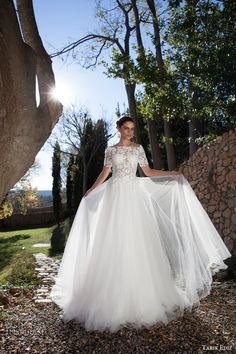 tarik ediz bridal 2015 oltu off shoulder wedding dress half sleeve lace bodice