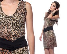 80s Leopard Print Dress Bodycon Mini 90s Bandage by ShopExile, $49.00