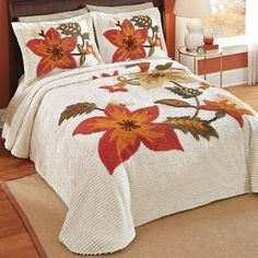 Carmen Chenille Harvest Floral Bedspread from Collections Etc. Ruffle Bedspread, Floral Bedspread, Interior Design Living Room, Living Room Decor, Bedroom Decor, Collections Etc, Bedding Collections, Bed Cover Design, Designer Bed Sheets