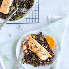 Baked Salmon with Black Rice can be baked in the oven and ready in less than thirty minutes. It's full of good for you heart healthy fatty acids.
