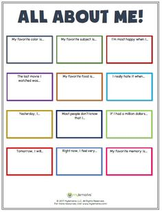 Great ice-breaker worksheet to help kids learn more about each other! Find this and more helpful team-building and ice-breaker exercises at www.mylemarks.com. #self-esteem #icebreaker #teambuilding #sportsmanship #mylemarks