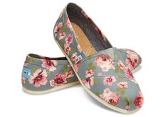 Grey and Pink Floral Women's Classics | TOMS