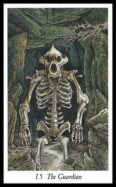 """The Guardian - Wildwood Tarot - This card is generally called """"The Devil."""" It is not a judgment or a danger to you, only your own imprisonment. Not being able to let go of fear in order to pass, to move on, to accept."""