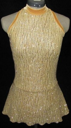 Gold with Gold Sparkle Ice Skating Dress / GIRLS LARGE 12 / 14