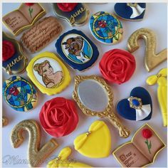 """MANDYS SWEETS on Instagram: """"Beauty and the beast inspired cookies #beautyandthebeast #belle #beast #beautyandthebeastcookies #mandyssweets #taleasoldastime #rose…"""""""