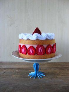 NEW Felt French Strawberry Cake by milkfly on Etsy