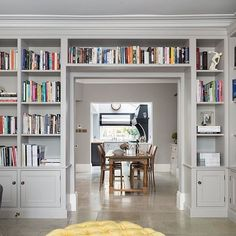 Nickleby cabinetry by Humphrey Munson used in the living room. Love the proportions and the way it wraps around the doorway. Living Room Bookcase, Living Room Wall Units, Bookcase Wall, Bookshelves Built In, Bookcases, Home Library Design, House Design, Home Libraries, Family Room