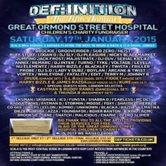 Def:Inition Great Ormond Street Hospital Charity Fundraiser at Scala, 275 Pentonville Rd, London, N1 9NL, UK on Jan 17, 2015 to Jan 18, 2015 at 10:00pm to 6:00am.  All Proceeds Go To The Great Ormond Street Hosptial Childre's Charity  URL: Tickets: http://atnd.it/19221-0  Category: Nightlife  Prices: 1st Release £7, 2nd Release £10, 3rd Release £12.50  Artists: Brockie, Eksman, Grooverider, Skibadee, Sub Zero, Shabba D, Majistrate, Ic3, Logan D, Heist, Funsta, Ruffstuff, Serial Killaz And…