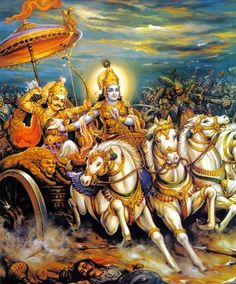 Krishna e Arjuna durante a guerra de Kurukshetra (Por ? Radha Krishna Love, Shree Krishna, Radhe Krishna, Hanuman Murti, Lord Krishna Wallpapers, Lord Krishna Images, Krishna Pictures, Krishna Painting, Spirituality