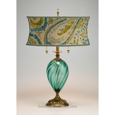 Lucia Table Lamp 79s82 by Kinzig Design, Colors Turquoise, Blue, Lime, Blown Glass, Artistic Artisan Designer Table Lamps