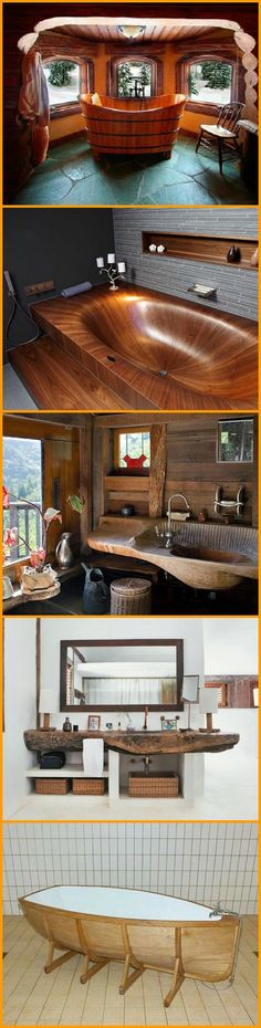 Wood Furniture Wooden bathtubs - handcrafted and beautiful in their own right. They're waiting . Wood Tub, Wood Bathtub, Wooden Bath, Rustic Bathrooms, Cozy Bathroom, Beautiful Bathrooms, Interior Design Living Room, Wood Furniture, Diy Home Decor