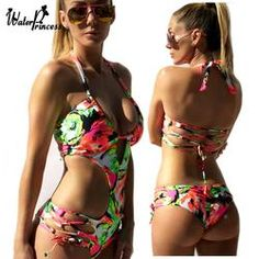 d13c87b957d1 One Piece Swimsuit Sexy Swimwear Women Bandage Monokini Push Up Floral  Hollow Out Bathing Suit maillot