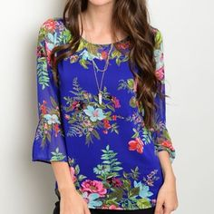 Royal Blue floral top! Stunning color in floral print- 3 qtr bell sleeves and scoop neck Tops Blouses