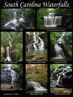 South Carolina Waterfalls Poster--get directions to all of these falls and more at southcarolinawaterfalls.com