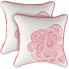 Embroidered cotton pillow.   Product: PillowConstruction Material: CottonColor: White and pink