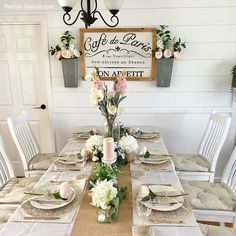 Pale pinks, creams, whites and neutrals create a beautiful Farmhouse style Mother's Day Table Setting Burlap Runners, Floral Garland, White Plates, Classic White, Pale Pink, Farmhouse Style, Table Settings, Rustic, Table Decorations