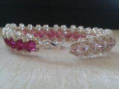 Pink beaded bracelet by khadijahandmade on Etsy