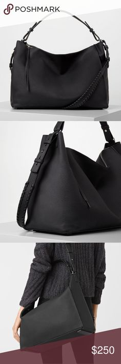 """AllSaints Kita East West Shoulder Bag Tote Gorgeous AllSaints Kita East West Shoulder Bag Tote. Features a single adjustable top handle, ajustable shoulder strap with whip stitched trim, and top zip closure. Interior features wall slip pocket and detachable zip pouch. Approx 12x16x6.5"""".  EUC. In perfect condition with pouch, both straps, and dust bag. All Saints Bags Shoulder Bags"""