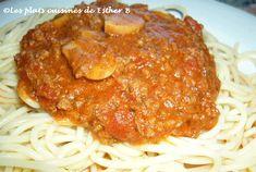 Sauce spaghetti à la Claudette Sauce Spaghetti, Esther, Pancakes, Pizza, Dressing, Breakfast, Food, Cook, Recipes
