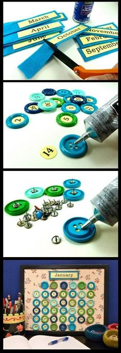 Perpetual calendar- this is an adorable idea! I would make Birthday, Holiday, and Special Occasion pins too!