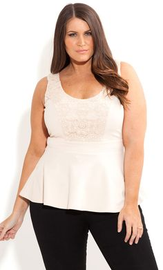 6e851e553 City Chic - LACE MOTIF PEPLUM TOP - Women s plus size fashion Designer De  Roupas Plus