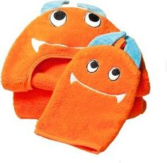 "Little Ashkim \""monster\\"" Hooded Turkish Towel And Wash Mitten Set."