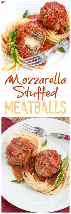 Mozzarella Stuffed Meatballs | Tender meatballs filled with gooey mozzarella @lizzydo