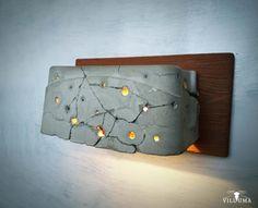 Bulletholes  concrete wall lamp fixture by Villuma on Etsy