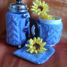 Hand knitted cafetiere cover coffee pot cosy mug hug by RowanKnits, £13.00