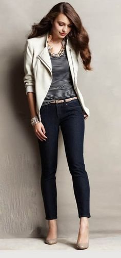 classic summer style - micro-stripe navy top, ankle-length pants with a contrasting color jacket.