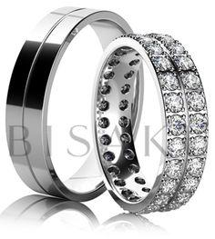 K09 Absolutní záře… Jste milovnice kamenů a přála byste si mít prsten pomyslně tvořený jen z nich? Pak jsou pro vás tyto snubní prsteny jasnou volbou. Propracovanost detailu a celkové zpracování vás uchvátí nejen na první pohled. Pánský prsten je decentně zdoben jednoduchou linkou. #bisaku #wedding #rings #engagement #svatba #snubni #prsteny