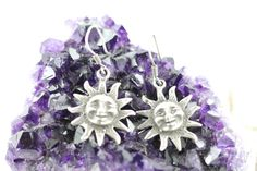 Vintage Sterling Silver Sun Earrings by Yourgreatfinds on Etsy