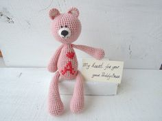 Kids gift Baby gifts Valentines gift Personalized baby girl gift Cute stuffed animal Pink Teddy Bear Soft eco friendly toy Holiday gift kids